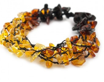 Hand-Twined Colorful Raw Baltic Amber Bracelet