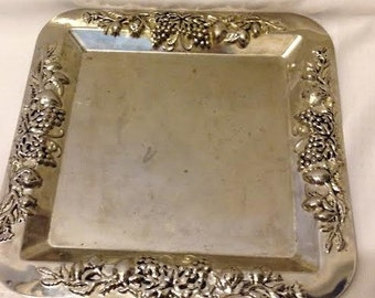 Fancy Rimmed Silver Plate Square Platter with Ornate Border Design with Grapes and Flowers