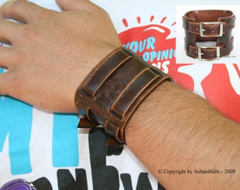 SB genuine leather bracelet leather wristband first class leather cuff men's bracelet wrist band 2 straps worn brown