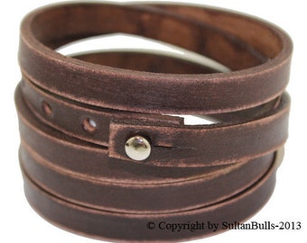 SB SURFER leather wrap bracelet genuine leather wristband first class leather bracelet men's leather bracelet worn brown