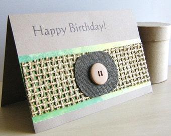 Lime Green Lattice Birthday Card.