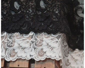 White/Black 3D Embroidered Floral Lace Trim, embroidered lace, Retro floral Lace Fabric, vintage Bridal lace F0011