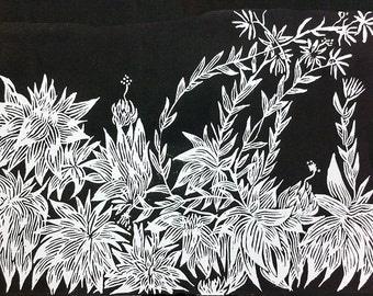 """original linocut """"Sempervivum"""""""
