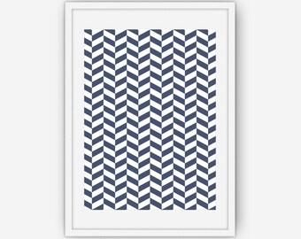 Navy Blue Chevron Wall Art, Navy Blue Print, Abstract Wall Art, Wall Art, Printable, Instant Download