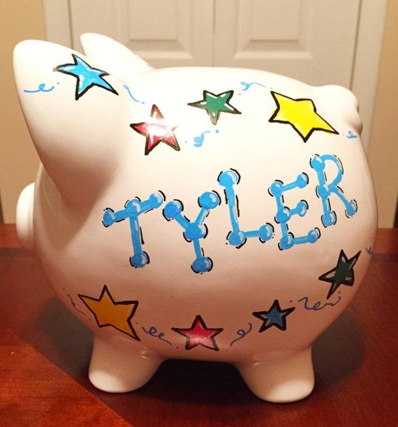 Boy stars hand painted ceramic piggy bank - Ceramic piggy banks for boys ...