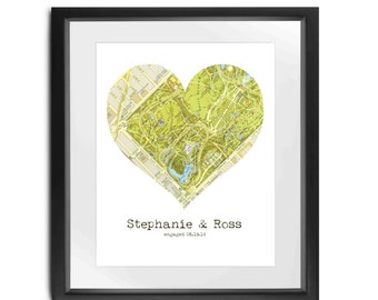 Engagement Map // 8x10 // Vintage Heart Map // Proposal Gift // Bride to Be // Engagement Location // DIGITAL FILE