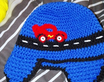 Race Car Crochet Beanie