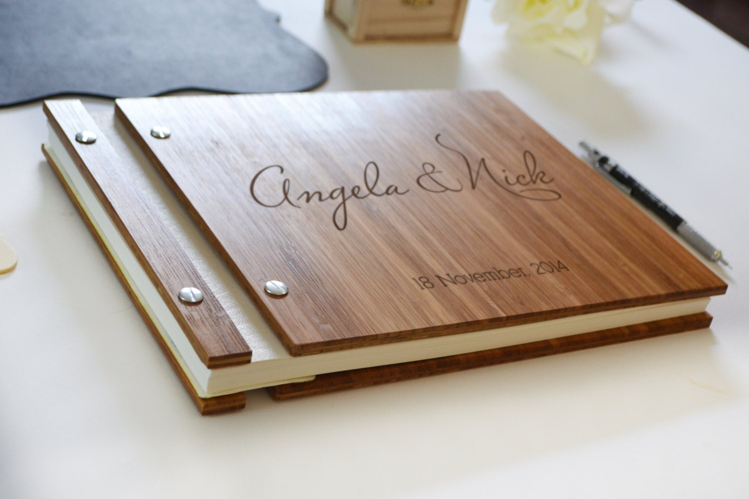 Wood Wedding Guest Book Wedding Guest Book Anniversary Gift