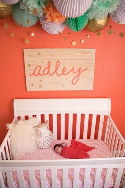 Name sign nursery decor crib sign baby name sign by for Baby name decoration