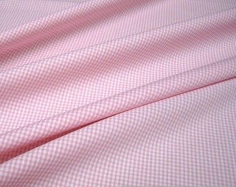 Fabric pure cotton little Vichy check pink white 1,5 mm