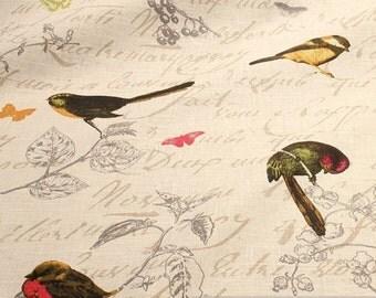 Fabric pure linen white bids yellowhammer tit robin redbreath parakeet