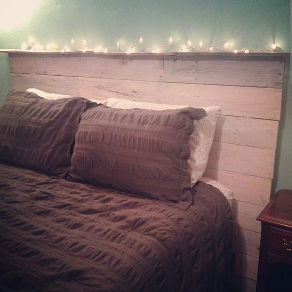 Whitewashed Reclaimed Pallet Wood Headboard by
