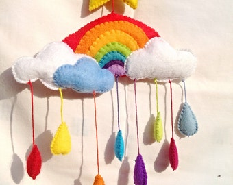 Hand Made hand stitched felt rainbow with teardrops
