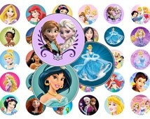 "1"" Disney PRINCESS Bottle Cap Image Sheet for Party Favors - DIGITAL DOWNLOAD - B"