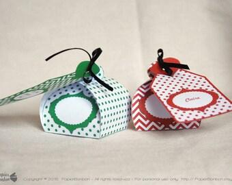 Favor boxes and Editable tags printable, printable gift boxes, Party favor boxes, Red, Green, Polka dots, Chevron - DIY
