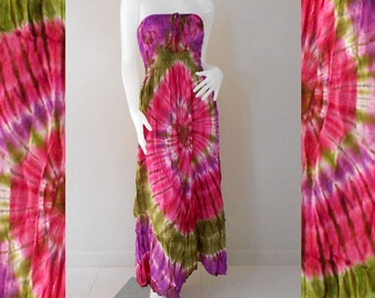 Colorful Tie dye Cotton Summer Long Smock Dress Tie dye Maxi Skirt  (TD96)