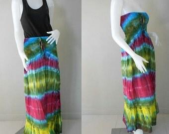 Boho Dress/Tie Dye Cotton Long  Hippie Gypsy Funky Smocked Maxi Dress /Long Skirt (414)