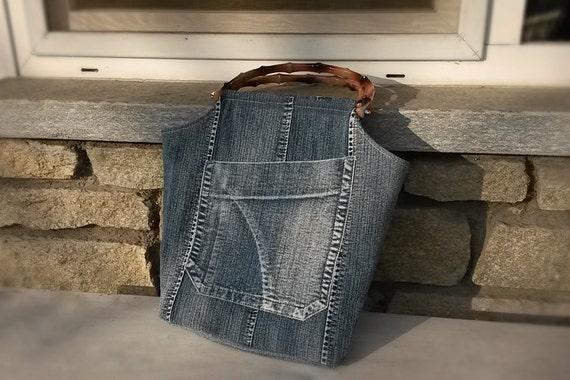 Borse Di Bambu : Borsa secchiello jeans riciclato con manici in bamb? sintetico