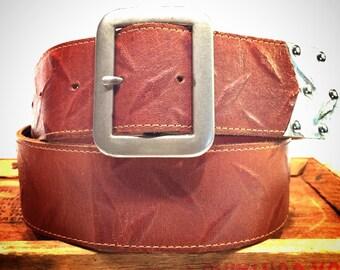 Brown Leather Belt w Diamond Plate Embossing