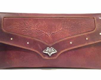 Leather Clutch Purse w Sterling NW Native Frog Closure