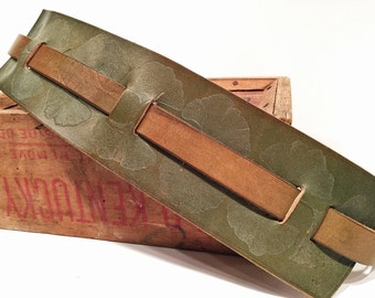 Guitar Strap Fender Style Olive Green Leather w Gingko Leaf Design