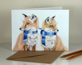 Winter foxes. Blank greeting card.