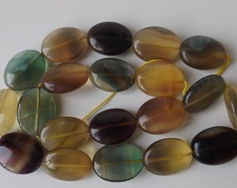 "20x15 mm Oval Natural Fluorite beads 15.5""strand  ( #J975)"