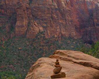 Zen Rock Balancing at Zion National Park photographic print