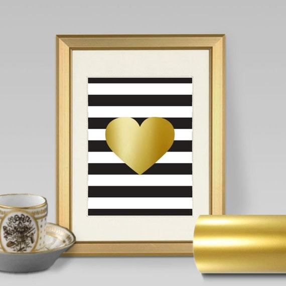 Gold Wall Home Decor : Items similar to faux gold foil wall art print heart