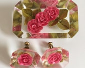 Pink Flowers W/ Green Leaves Rectangular Beveled Lucite Resin Brooch Pin & Earrings