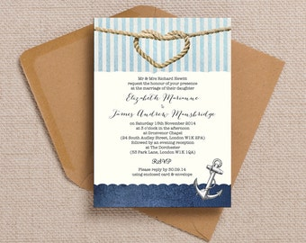 Navy Blue Nautical Sailing Knot Wedding Invitation & RSVP with envelopes