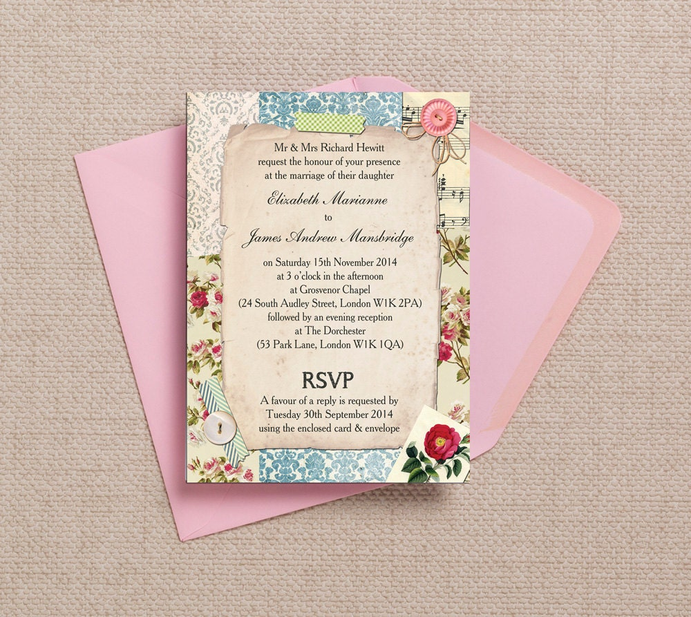 How to scrapbook a wedding invitation - Wedding Invitations Scrapbook Style
