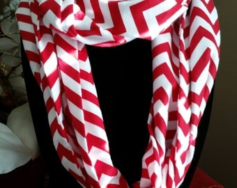 Red and White Chevron Infinity Scarf