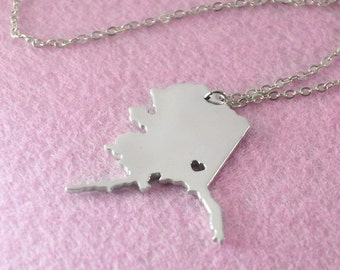 Alaska Pendant,I heart Alaska Necklace,Custom Alaska Necklace, State Map Jewelry, Personalized Silver Pendant ,Map Jewelry