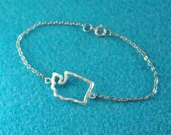 Washington Jewelry, Custom Washington Bracelet, Personalized Map Bracelet, Map jewelry,custom map jewelry,Washington pendant