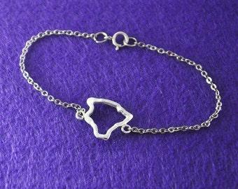 Silver Hawaii Bracelet,Custom Map Bracelet,Personalized Hawaii Bracelet, Hawaii jewelry,Map pendant,custom jewelry