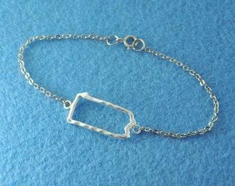 Silver Pennsylvania Bracelet,Custom Map Bracelet,Personalized Pennsylvania Bracelet, Pennsylvania jewelry,Map pendant,custom map jewelry