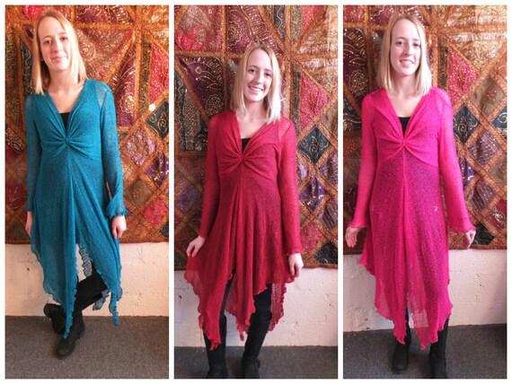 Ladies Long Maxi Knit Mesh Dress Long Sleeve Loose Floaty Pink Red Purple White 8-14 Boho Bohemian Steampunk