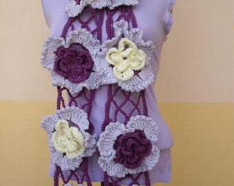 "Crochet Scarf With ""Net Stitch"" And Flowers"