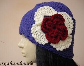 Crochet Beanie In Purple Blue
