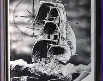 Sailing Ship Etched Mirror