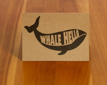 """FREE SHIPPING!! Humpback Whale """"Whale Hello"""" Handmade Card on Recycled Card Stock"""