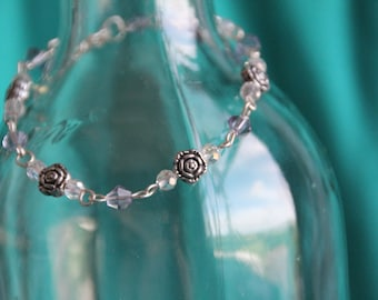 Lilac and crystal beaded bracelet with rose detail