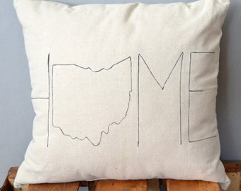 Ohio, Home, hand painted pillow