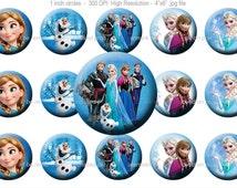Disney Frozen Bottle Cap Images - Disney Frozen Stickers - 1 inch Bottle Cap images - Instant Download  [#010]