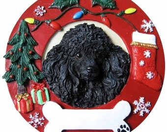 """Black Poodle Ornament Personalized with your Dog's Name, Hand Painted with a brush, Measures 3.75"""" Diameter"""