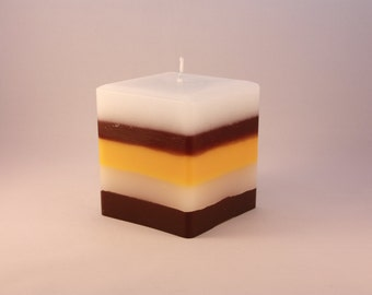 "3"" cube Liquorice Allsorts candle"
