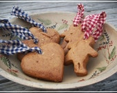 ON SALE - 20% OFF Rustic, Country Gingerbread Cookie Ornaments - Set of 2