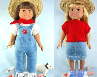 Down on the Farm, Knitting Patterns for 18 inch Dolls - Immediate Download - PDF - Fits American Girl Doll