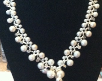 braided pearl and crystal necklace